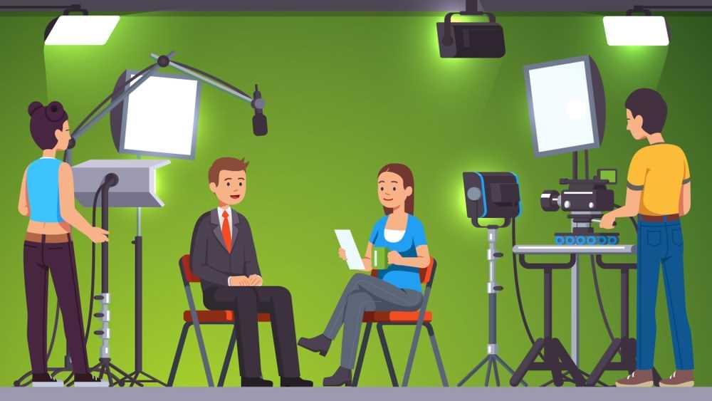 گزارشگر,خبرنگار,مصاحبه کننده,دوربین,فیلمبرداری,گفتگو,تولید برنامه,استودیو
