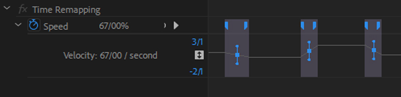 تنظیم سرعت در فیلم از طریق پنل افکت کنترل پریمیر,time remapping,